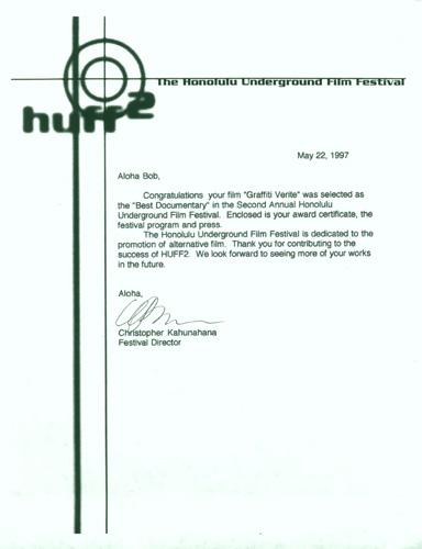 Best Documentary Award For GV By The Honolulu Underground Film Festival